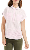Vince Camuto Two by Short Sleeve Sheer Stripe Boxy Collared Shirt