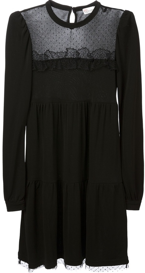 RED Valentino tiered lace panel dress