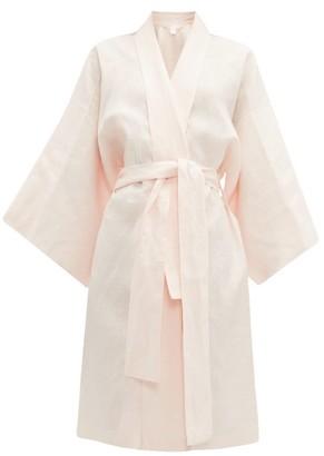 Rossell England - Angled Linen Kimono-style Robe - Nude