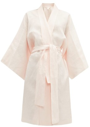 Rossell England - Angled Linen Kimono-style Robe - Womens - Nude