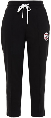 Love Moschino Appliqued French Cotton-terry Track Pants