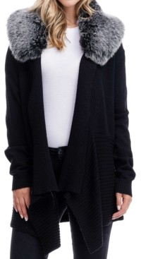 Fever Detachable Faux Fur Collar Sweater