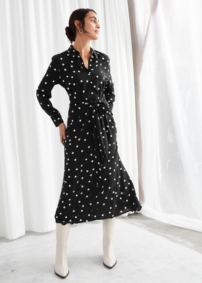 And other stories Polka Dot Waist Tie Midi Dress