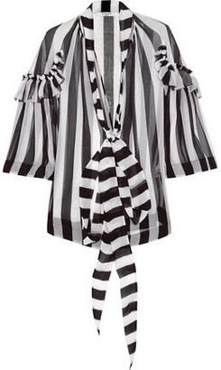 Givenchy Blouse In Black And White Striped Silk-chiffon
