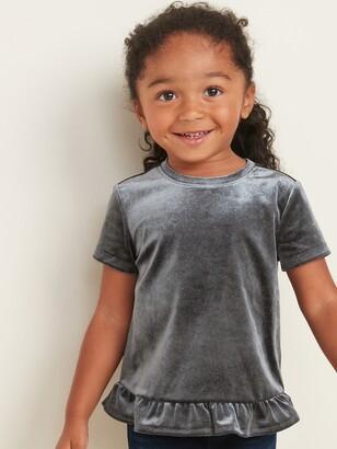 Old Navy Sparkle Velvet Ruffle-Hem Top for Toddler Girls