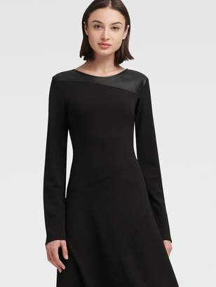 DKNY Asymmetrical Dress With Faux Leather Panel