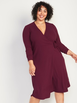 Old Navy Rib-Knit V-Neck Plus-Size Midi Wrap Dress