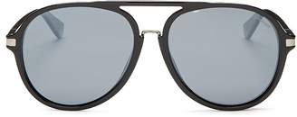 Polaroid Men's Polarized Brow Bar Aviator Sunglasses, 58mm