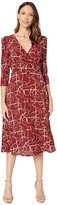 Donna Morgan Status Print 3/4 Sleeve Lightweight Stretch Crepe Fit and Flare Dress (Wine) Women's Dress