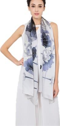 Prettystern - hand-printed women 180 cm long silk scarf elegant chinese brush printing Art -Lotus flower water lilies SHS06 Grey