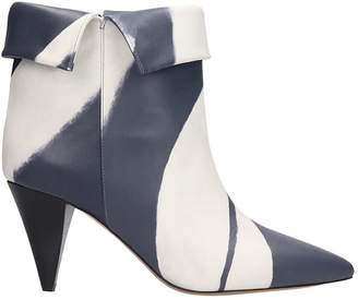 Isabel Marant Ladele High Heels Ankle Boots In Grey Leather