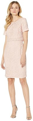 Lauren Ralph Lauren Floral Lace Popover Dress (Pink Macaron) Women's Clothing