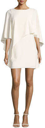 Halston Flowy-Sleeve Boat-Neck Asymmetric Drape Dress