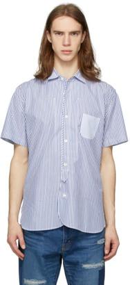 Junya Watanabe White and Blue Dobby Short Sleeve Shirt
