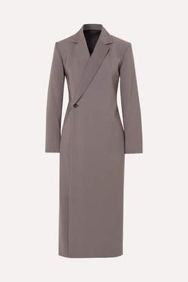 Glenn Deveaux Double-breasted Woven Midi Dress - Gray