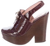 Carven Patent Leather Slingback Clogs