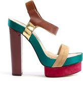 Diane von Furstenberg Toy Satin Suede Lizard Print High Sandals