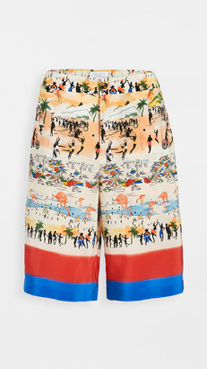 Deveaux Postcard Print Lounge Shorts