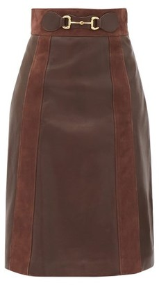 Gucci Horsebit Leather A-line Skirt - Brown