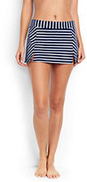 Lands' End Women's Petite Mini SwimMini Skirt Control-Deep Sea/White Media Stripe