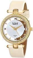 Burgi Women's Diamond and Crystal Watch with Silver Dial Analogue Display and White Textile Strap BUR104WTG