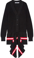 Givenchy Draped Striped Cotton-blend Cardigan - Black