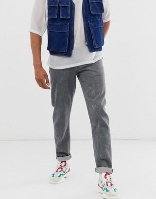 Asos Design DESIGN slim jeans in grey bleach wash
