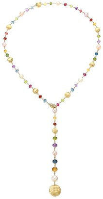 Marco Bicego Africa 18K Yellow Gold, Mixed Gemstone, Freshwater Pearl & Diamond Lariat Necklace