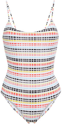 Onia Gabriella Striped Stretch-pique Swimsuit