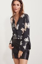 Dynamite Satin Button-Up Bell Sleeve Blouse
