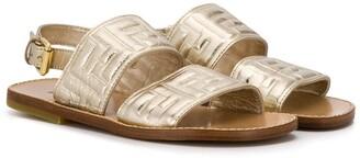 Fendi Kids Embossed Logo Sandals