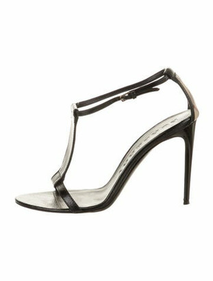 Burberry Patent Leather T-Strap Sandals Black