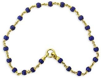 Elizabeth Locke 19K Yellow Gold & Lapis Beaded Necklace