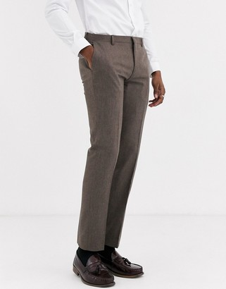 Shelby & Sons slim suit pant in brown