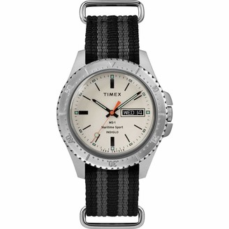 Timex Men's MS1 41mm Maritime Sport Stainless Steel Analog Quartz Nylon Strap Black 20 Casual Watch (Model: TW2R83400JR)
