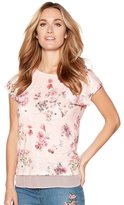 M&Co Floral print sheer trim sequin top