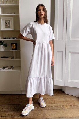 Nasty Gal Womens Flowy Tiered Midi T-Shirt Dress - White - S