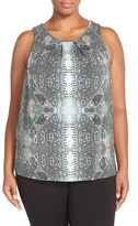 Tart Plus Size Women's 'Jewell' Pleat Neck Print Top