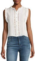 Rebecca Taylor Sleeveless Voile and Lace Top, White