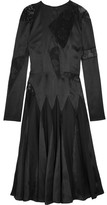 Christopher Kane Lace-paneled Silk-satin Midi Dress - Black
