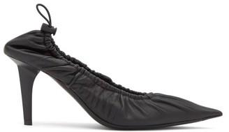 Balenciaga Scrunch 80 Leather Pumps - Black