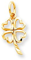 FindingKing 10K Yellow Gold Shamrock Charm Good Luck 4 Leaf Clover