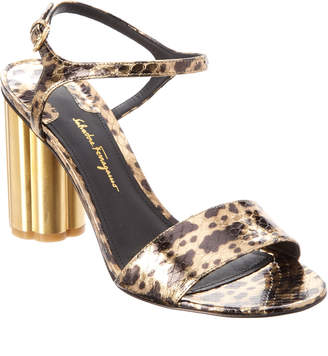 Salvatore Ferragamo Siena Flower Heel Leather Sandal