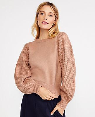 Ann Taylor Ribbed Balloon Sleeve Sweater