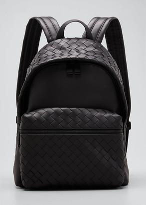 Bottega Veneta Men's Borsa Medium Woven Leather Backpack