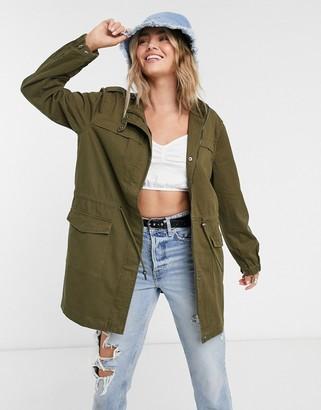 Vila tie waist utility jacket in khaki