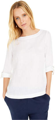 Charter Club D-Ring Roll-Sleeve Top