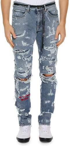 Off-White Men's Distressed Back-Dart Jeans