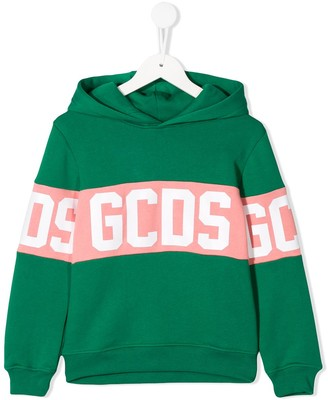 Gcds Kids Logo Print Two-Tone Hoodie