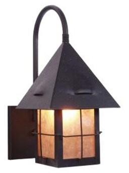 Callaway Millwood Pines 1-Light Outdoor Wall Lantern Millwood Pines Finish: Black, Shade Color: Amber Mica